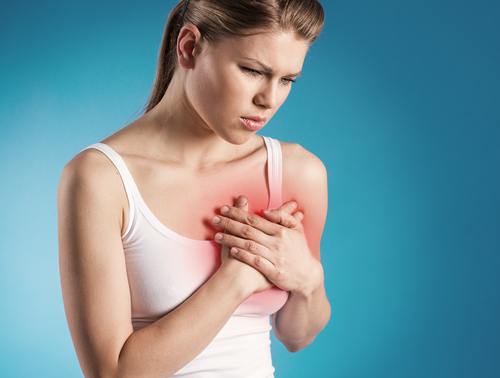 Woman with gum disease having heart trouble